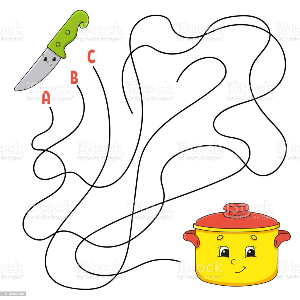 Easy Maze Knife And Stewpan Labyrinth For Kids Activity Worksheet
