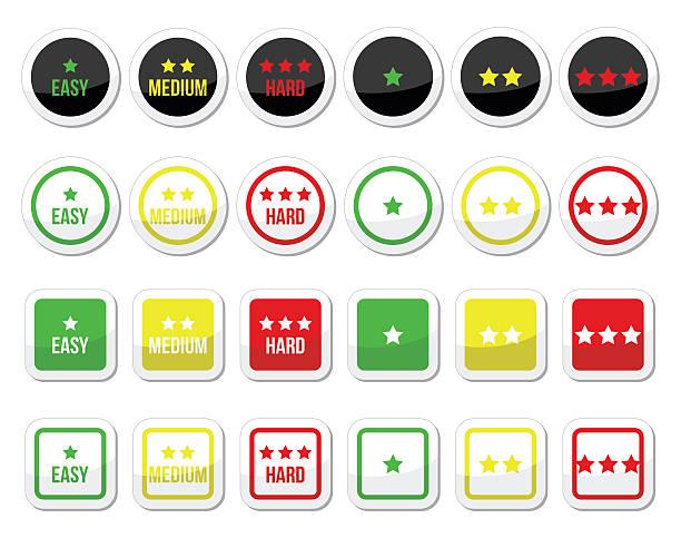 illustrazioni stock, clip art, cartoni animati e icone di tendenza di facile, media, elevata qualità icone impostare con stelle - facilità