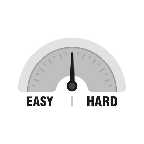 illustrazioni stock, clip art, cartoni animati e icone di tendenza di easy or hard measuring gauge. vector indicator illustration. meter with black arrow in white background - facilità