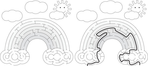 Labirinto de arco-íris fácil - ilustração de arte em vetor