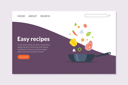 Easy Recipes Landing Page Template, Online Cooking Course, School Web Page, App, Website Vector Illustration