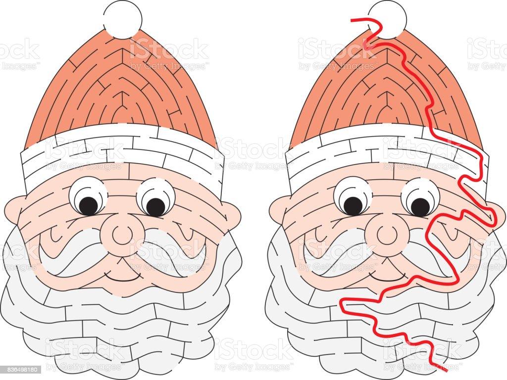 簡単なサンタ クロースの迷路 イラストレーションのベクターアート素材