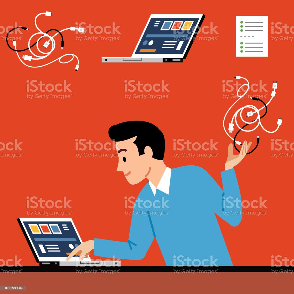 Easy set-up vector art illustration