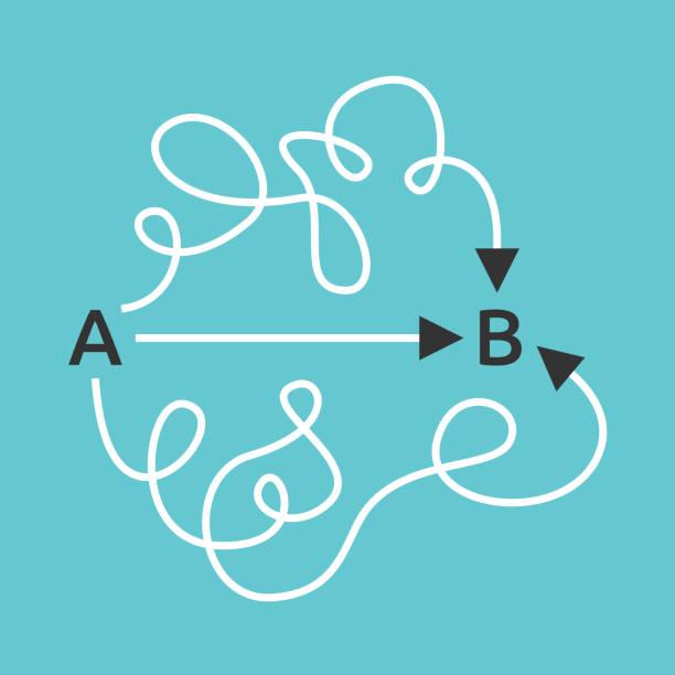 łatwe proste, skomplikowane ścieżki - prostota stock illustrations
