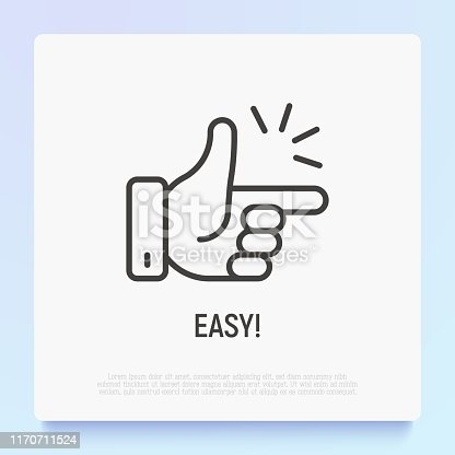 Easy symbol, snappping fingers. Thin line icon. Modern vector illustration.
