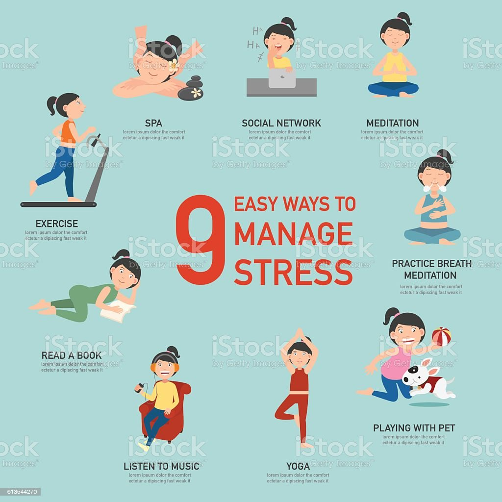 Easy ways to manage stress,infographic,illustration vector art illustration