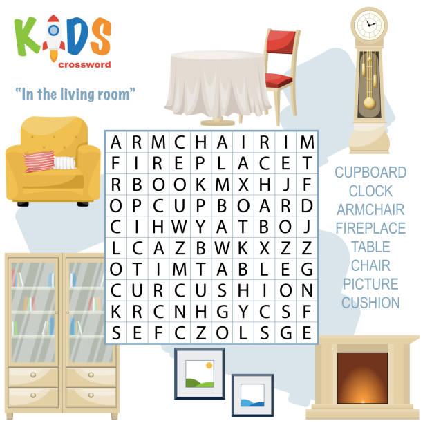 ilustrações, clipart, desenhos animados e ícones de palavras cruzadas de busca de palavras fáceis 'na sala de estar' - salas de aula