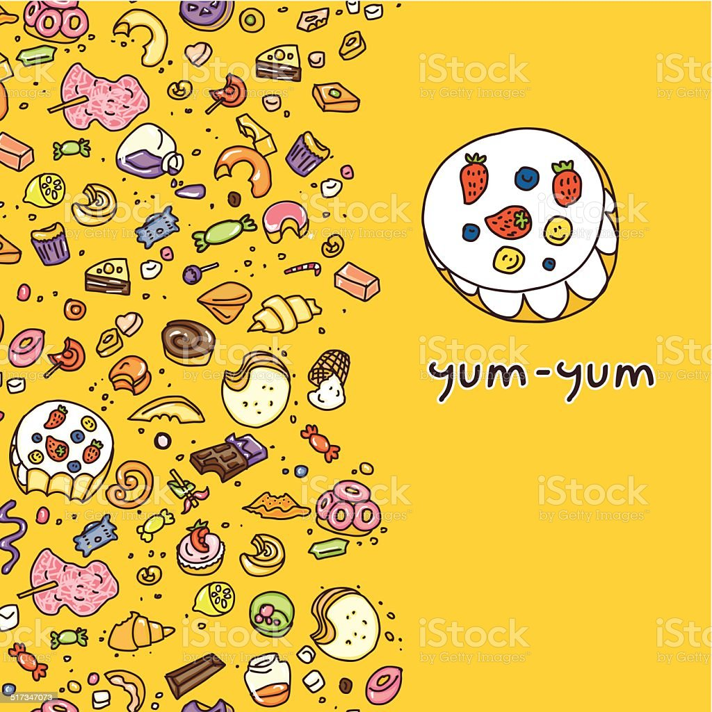 eat doodle candy vector art illustration