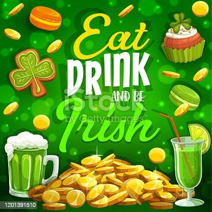 istock Eat, drink and be Irish, Patricks day shamrock 1201391510