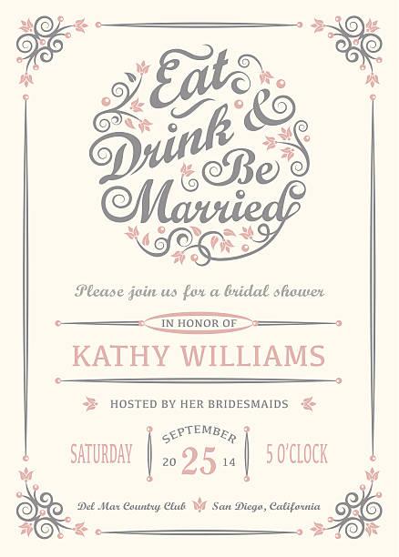 ilustraciones, imágenes clip art, dibujos animados e iconos de stock de ingiera bebidas y estar casado invitación - casados