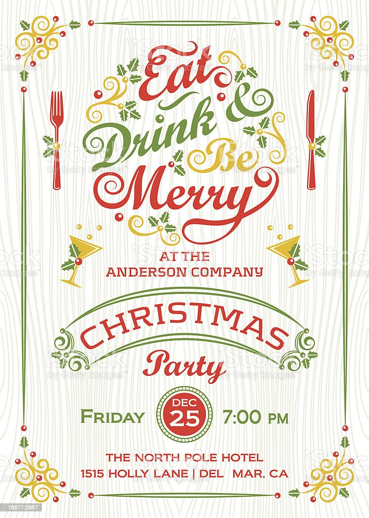 Eat, Drink, and Be Merry Christmas Party royalty-free eat drink and be merry christmas party stock vector art & more images of alcohol