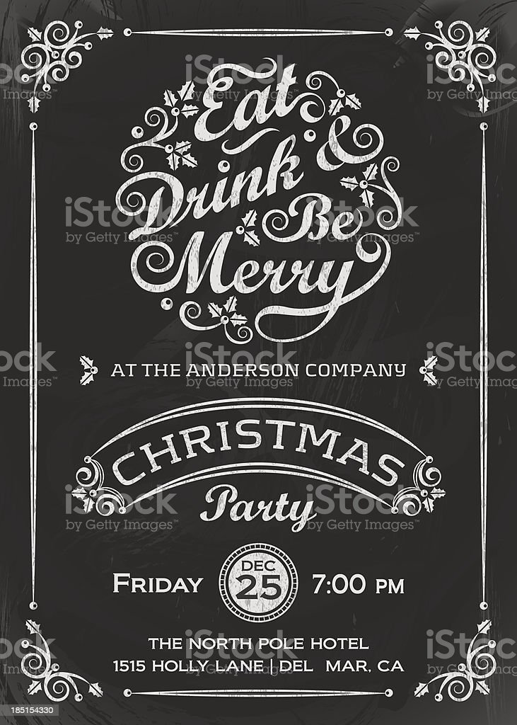 Eat, Drink, and Be Merry Invitation royalty-free stock vector art