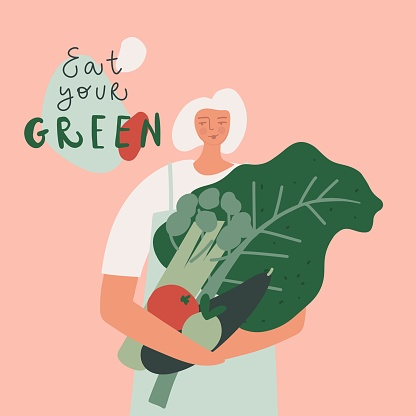 Eat green hand drawn vector illustration. Eco product, natural and organic food, mindful eating concept. Woman with vegetables
