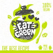 Eat green soup love heart logo fresh organic recipes hundred percent vegan vegetarian yummy sign pot spoon design element for stickers, product labels. Hand drawn vector illustration