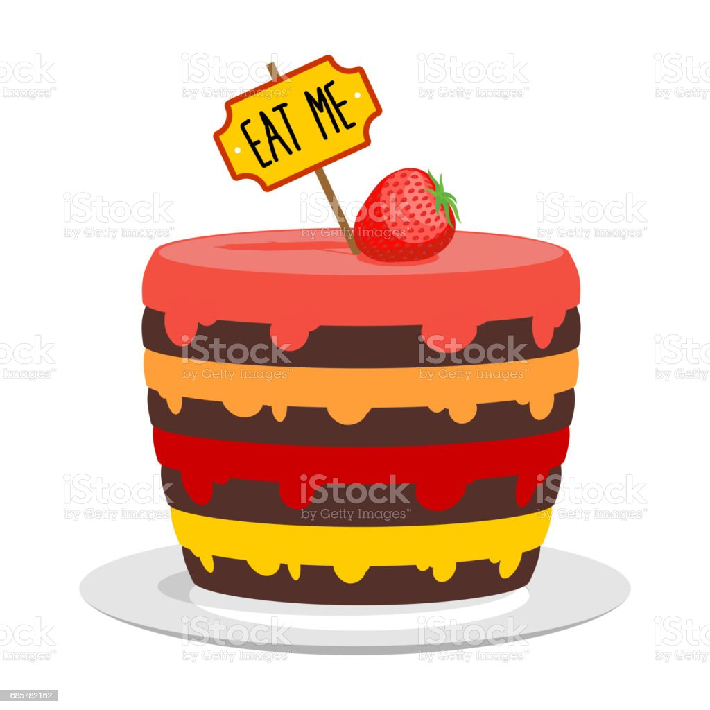 Eat me. Big cake with strawberries. Magic pie from Alice in Wonderland vector art illustration