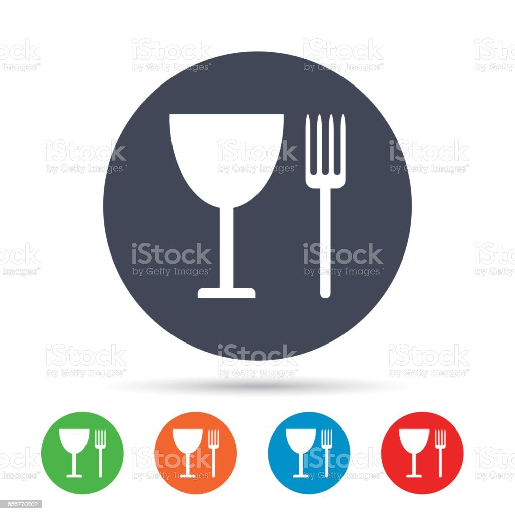 Eat Sign Icon Cutlery Symbol Fork And Wineglass Stock Vector Art