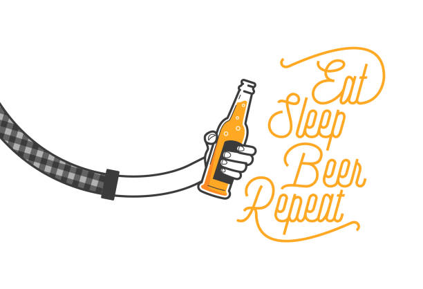 eat sleep beer repeat calligraphy design and a hand holding a glass of beer in plaid shirt vector illustration. cheers mate. pub or restaurant decoration design. cold beverage for drunk people - plaid shirt stock illustrations