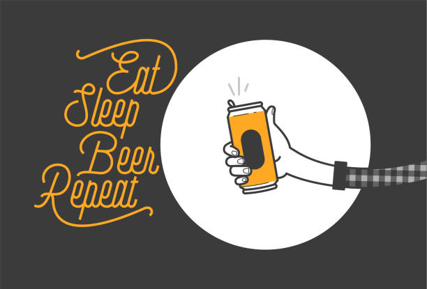 eat sleep beer repeat typography design and a hand holding a beer can in plaid shirt vector illustration. cheers mate. pub or restaurant decoration design. cold beverage for drunk people - plaid shirt stock illustrations