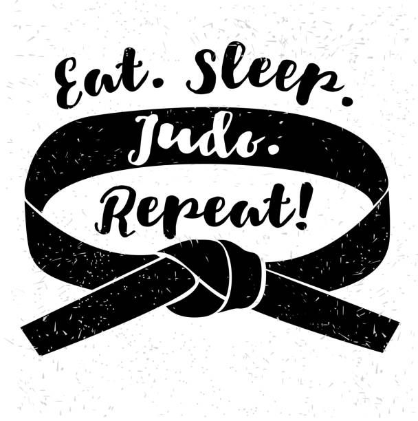 eat. sleep. judo. repeat! judo design - taekwondo stock illustrations, clip art, cartoons, & icons