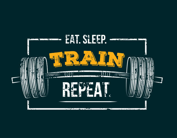 Eat sleep train repeat. Gym motivational quote with grunge effect and barbell. Workout inspirational Poster. Vector design for gym, textile, posters, t-shirt, cover, banner, cards, cases etc. samenwerking stock illustrations