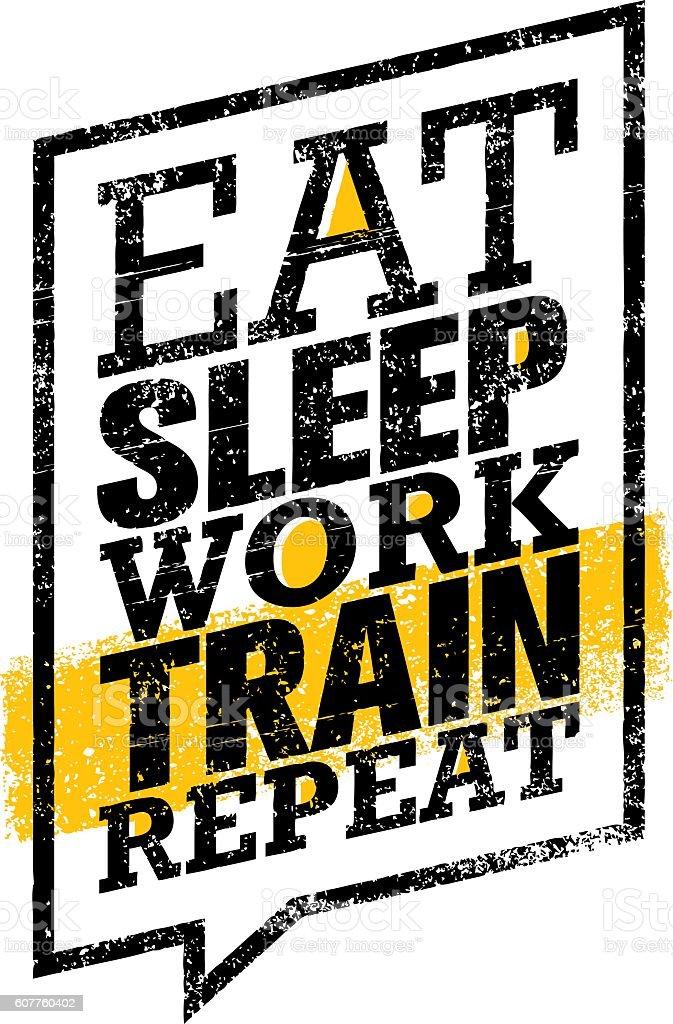 Eat Sleep Work Train Repeat. Workout Gym Motivation Banner Template vector art illustration