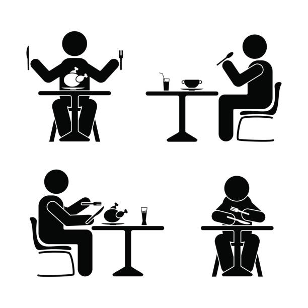 illustrazioni stock, clip art, cartoni animati e icone di tendenza di eating and drinking pictogram. stick figure black and white boy set - galateo a tavola