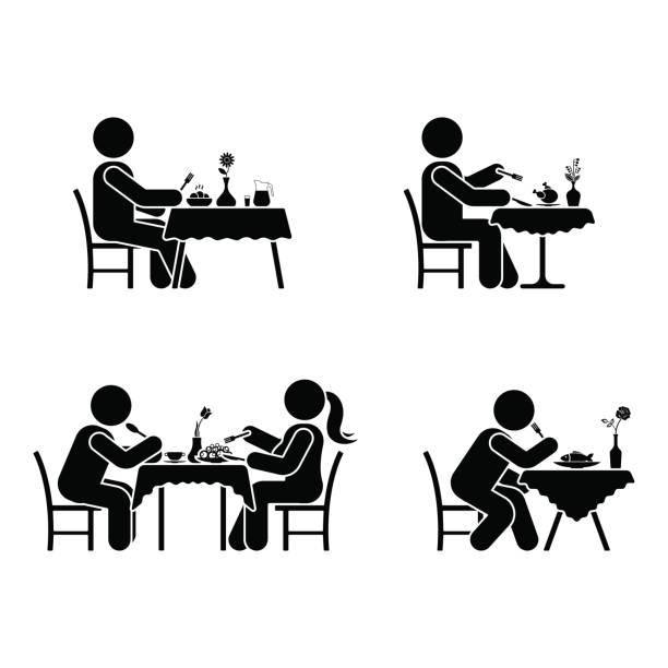 illustrazioni stock, clip art, cartoni animati e icone di tendenza di eating and drinking pictogram. stick figure vector dining couple icon on white - galateo a tavola