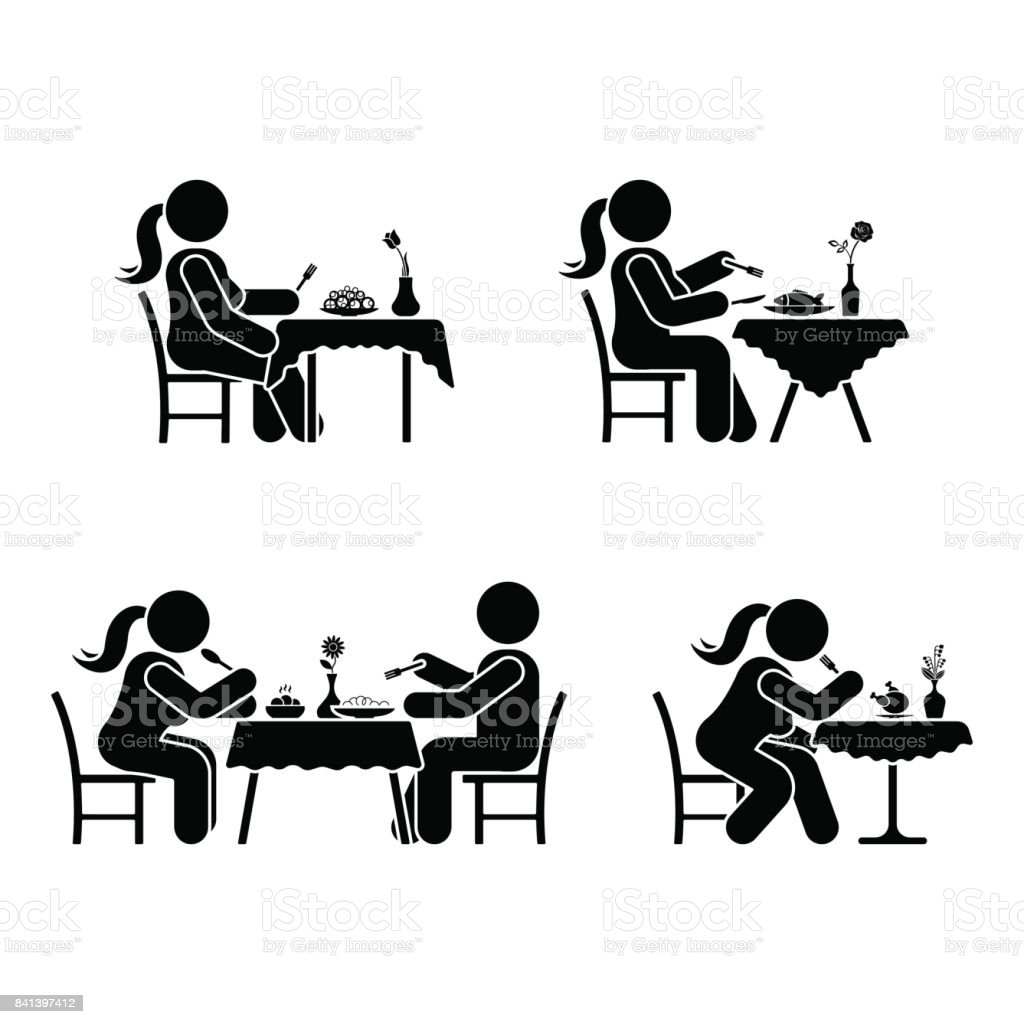 Eating and drinking pictogram. Stick figure vector dining couple icon on white vector art illustration