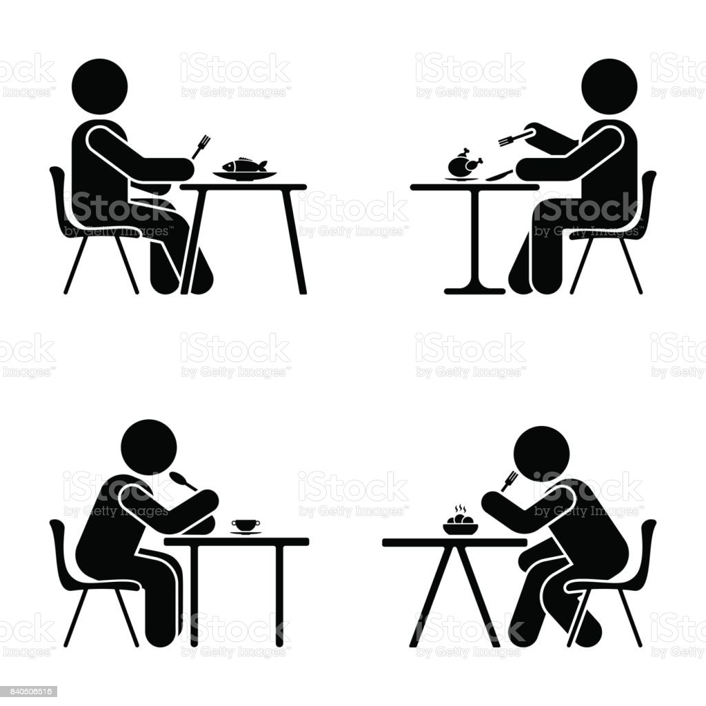 Eating and sitting vector pictogram. Stick figure black and white boy set symbol icon on white vector art illustration