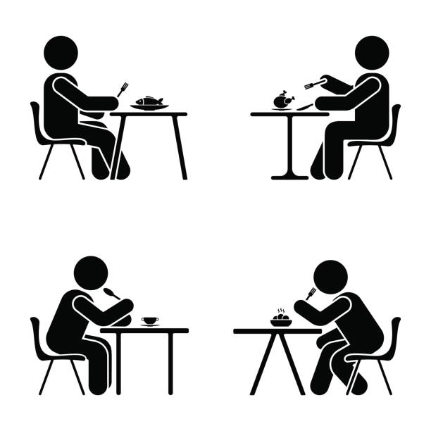 illustrazioni stock, clip art, cartoni animati e icone di tendenza di eating and sitting vector pictogram. stick figure black and white boy set symbol icon on white - galateo a tavola