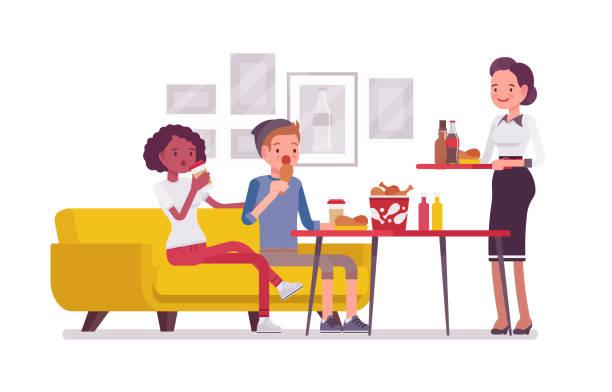 stockillustraties, clipart, cartoons en iconen met eten in het café - breakfast table