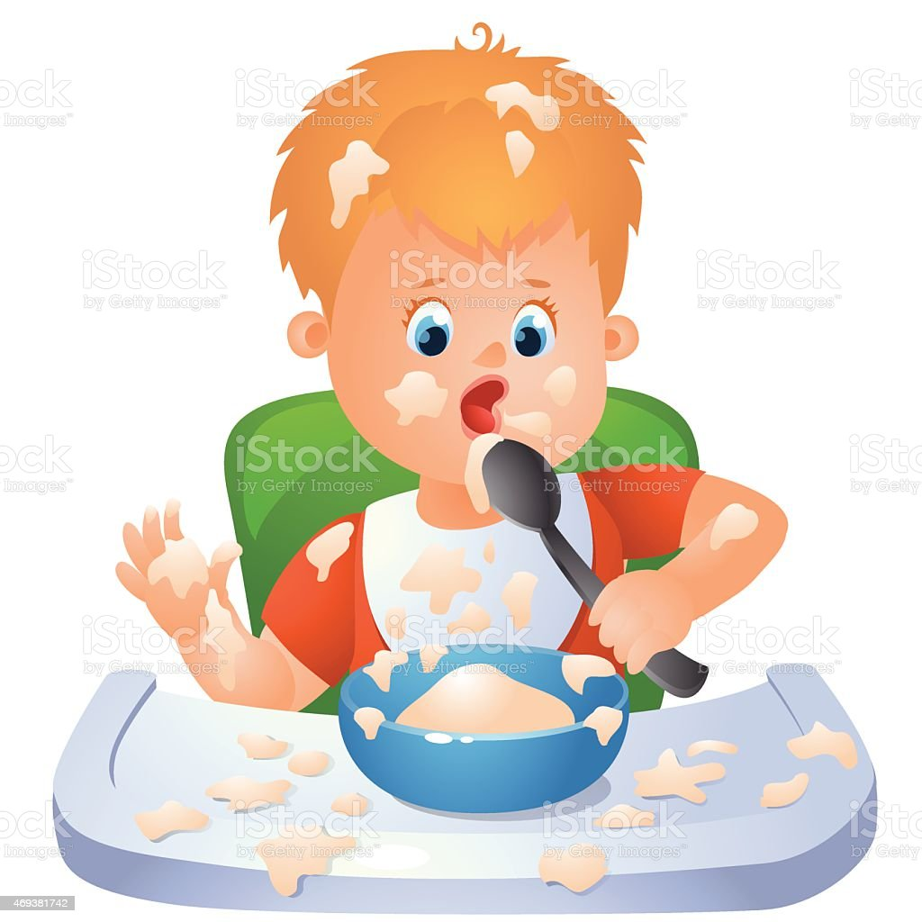 eating baby vector art illustration