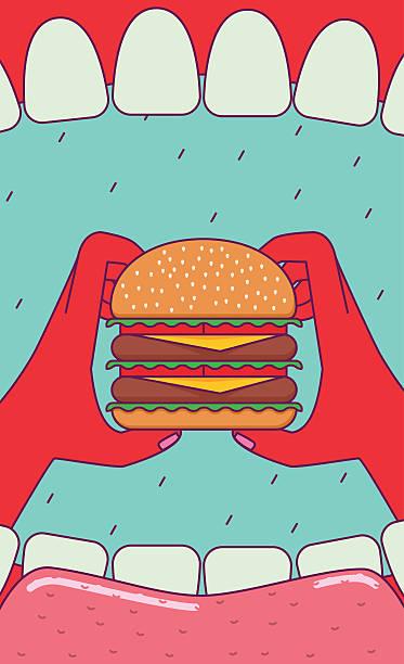 eating big burger. - burgers stock illustrations, clip art, cartoons, & icons