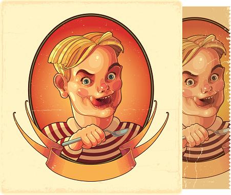 Eating boy. Retro image