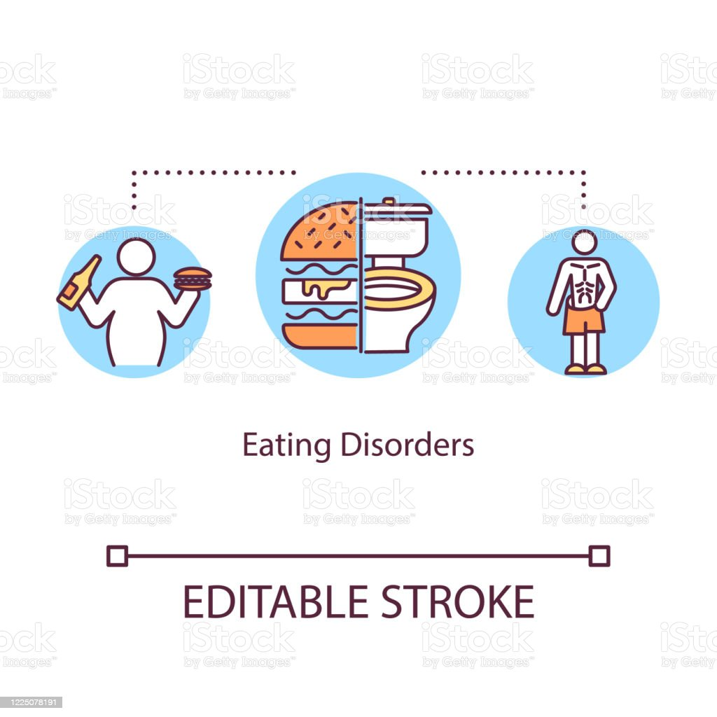 Eating Disorders Concept Icon Mental Illness Idea Thin Line Illustration Anorexia Bulimia Overweight Psychological Problems Vector Isolated Outline Rgb Color Drawing Editable Stroke Stock Illustration Download Image Now Istock