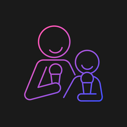 Eating ice cream together gradient vector icon for dark theme