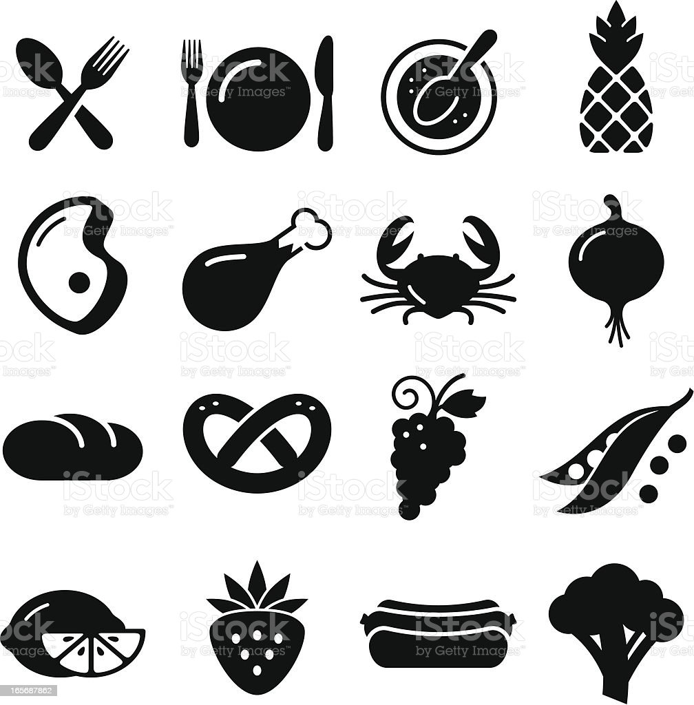 Manger la série d'icônes-Noir - Illustration vectorielle