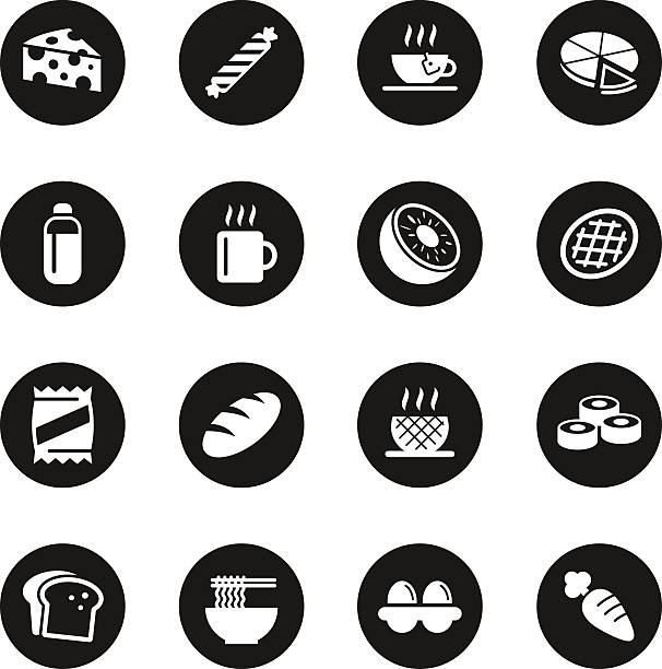 Eating Icons Set 2 - Black Circle Series vector art illustration