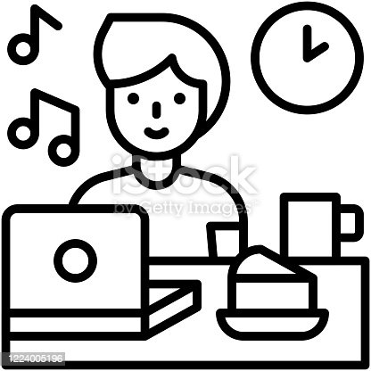 Eating infront of laptop, work from home related vector