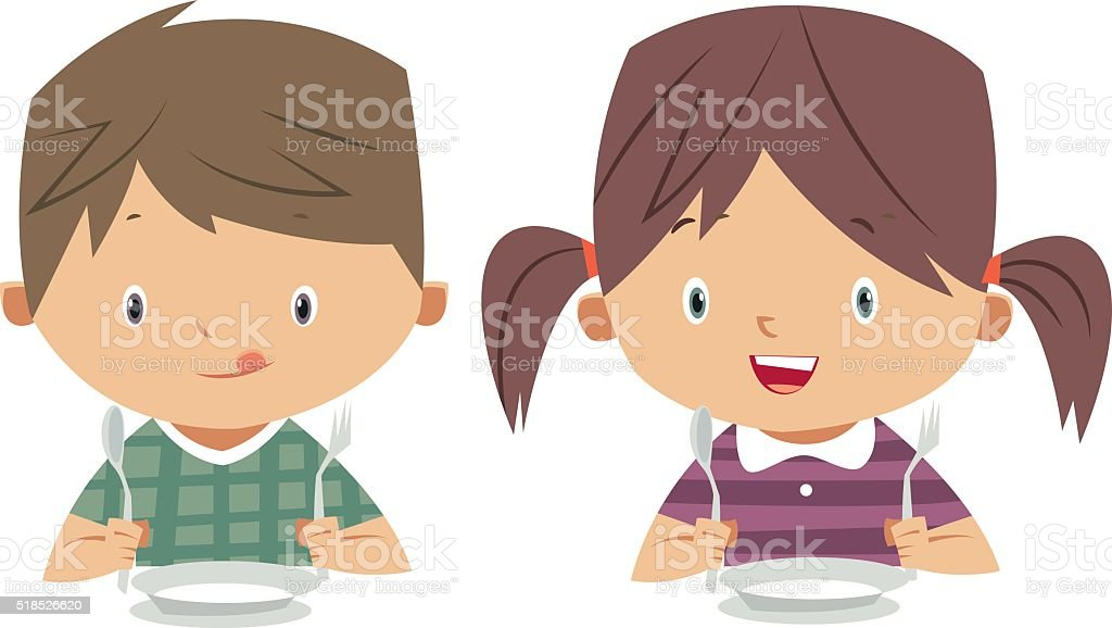 eating kids vector art illustration