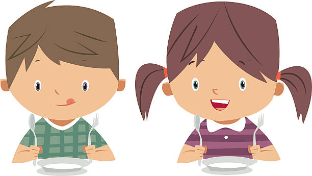 eating kids vector art illustration