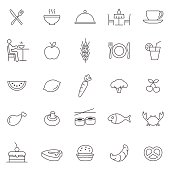 Eating line icons set.Vector