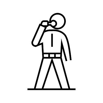 Eating man line icon, concept sign, outline vector illustration, linear symbol