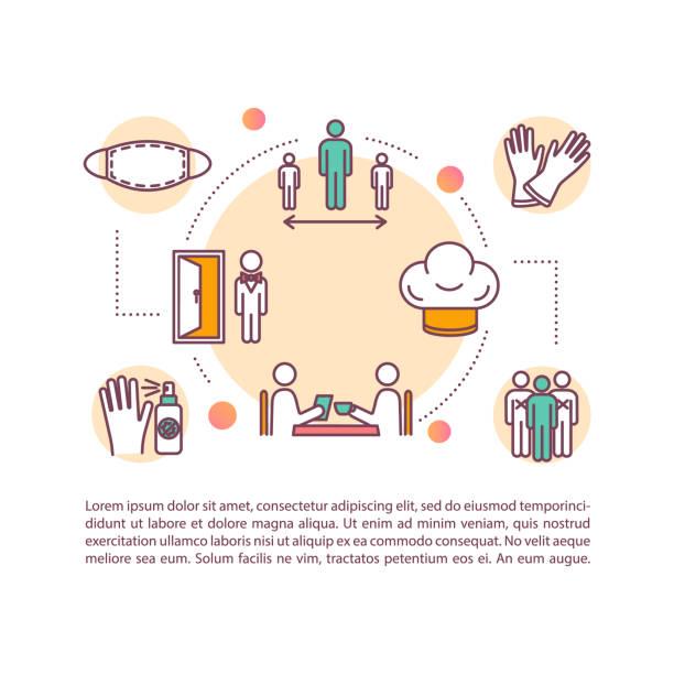 ilustrações de stock, clip art, desenhos animados e ícones de eating out safety concept icon with text - covid restaurant