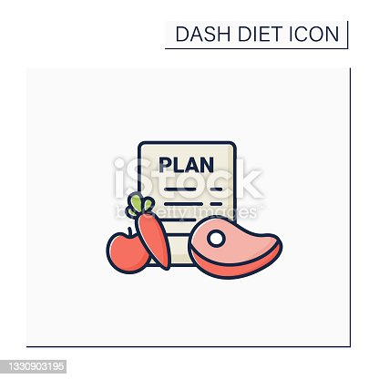 istock Eating plan color icon 1330903195
