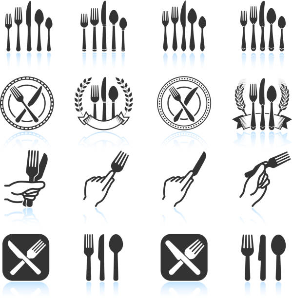 Eating Utensils black & white royalty free vector icon set vector art illustration