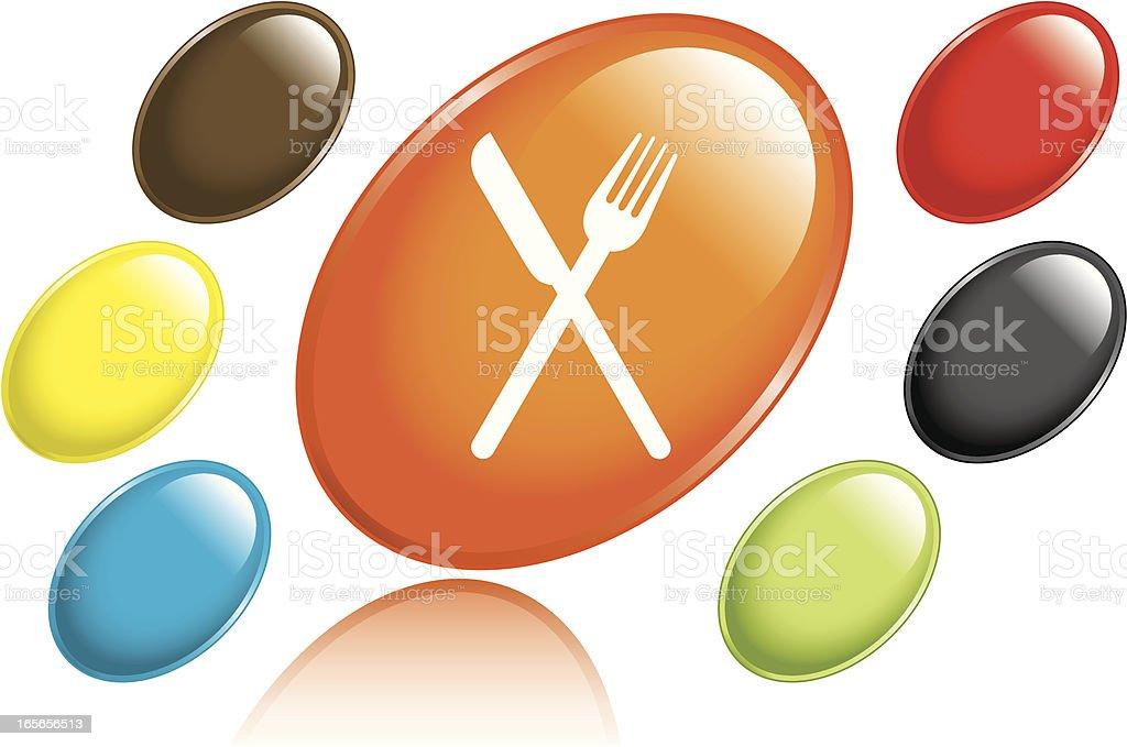 Eating Utensils Icons vector art illustration