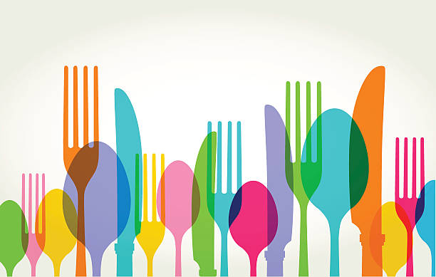 Eating Utensils Eating Utensils in transparent silhouette style. Best in GRB, eps 10 file with CS3 and CS5 in zip. kitchen utensil stock illustrations