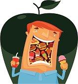vector illustration of man eating fast food...