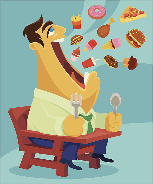 stockillustraties, clipart, cartoons en iconen met eating - overhemd en stropdas